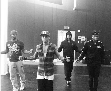 JLS rehearsing for their TV performance