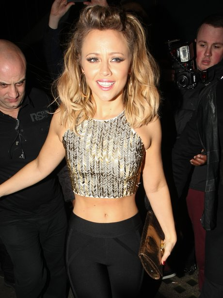 Kimberley Walsh shows of stomach