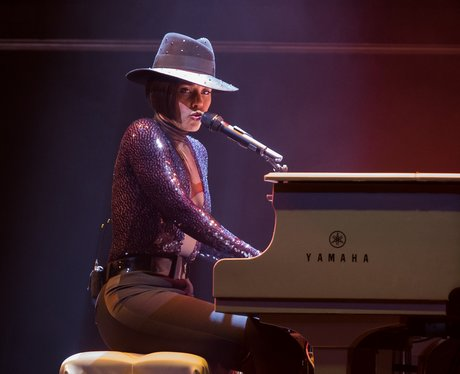 Alicia Keys playing piano at Staples Center