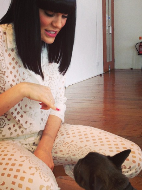 Jessie J spends some quality time with her pet dog