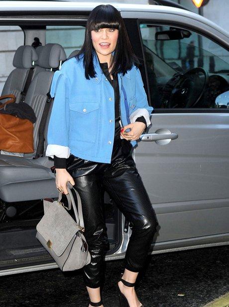 Jessie J wears leather trousers in London