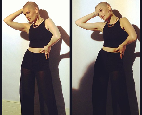 jessie j with her shaved head