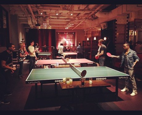 JLS playing table tennis while enjoying a night out
