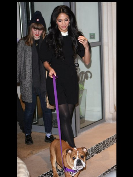 Nicole Scherzinger with her bulldog