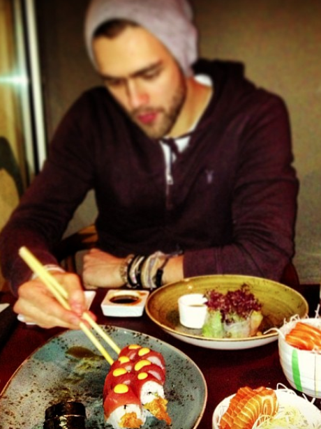 Andy Brown from Lawson eating sushi