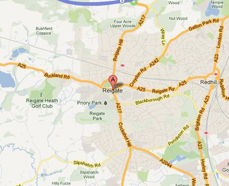 Map of Reigate, Surrey