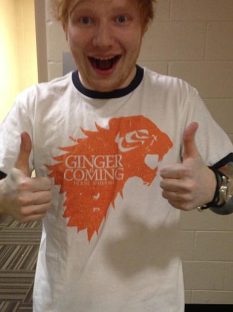 Ed Sheeran in his Game Of Thrones t-shirt