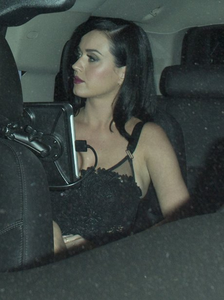 Katy Perry wearing lingerie in the car