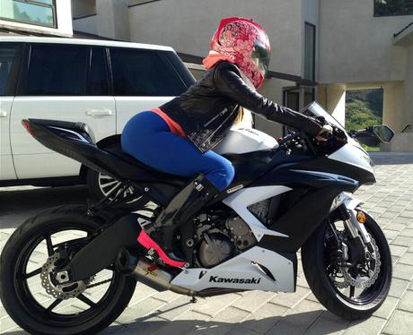 Nicki Minaj on a Motorbike