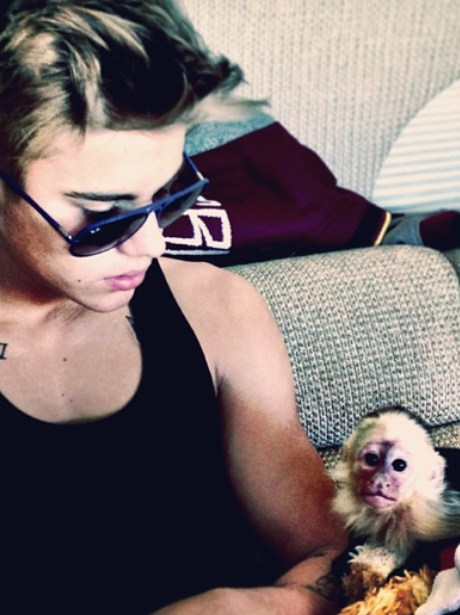 Justin Bieber with his pet monkey