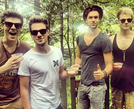 Lawson pose in Singapore on their Far East Tour