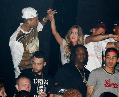 Chris Brown dancing on stage in Los Angeles