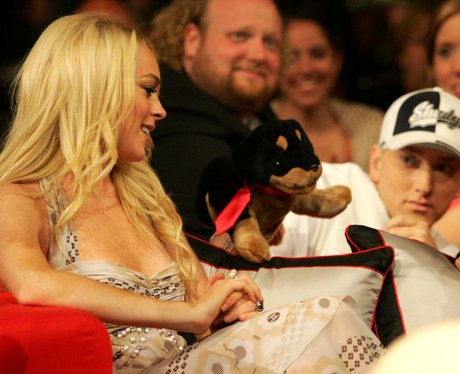 eminem with lindsay Lohan and a toy dog