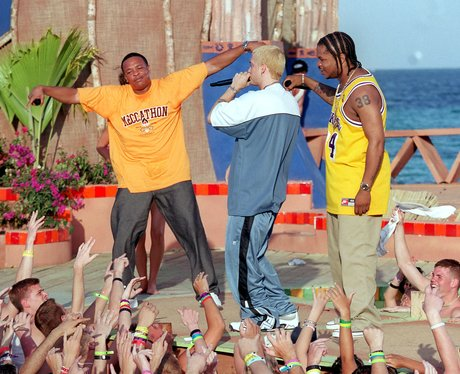 eminem on a beach with Dr Dre and Xhibit