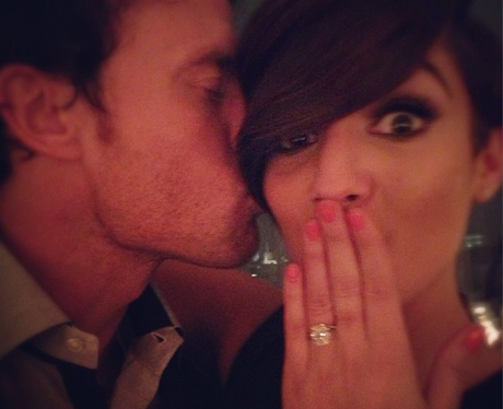 Frankie Sandford kissed by wayne bridge wearing engagement ring