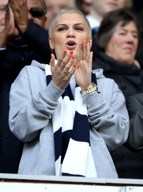 Jessie J watching Spurs against Everton