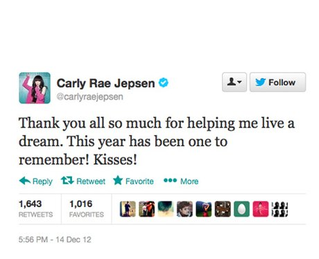 Carly Rae Jepsen thanks Justin Bieber for his support