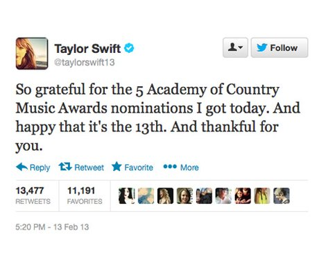 Taylor Swift expresses her gratitude on Twitter