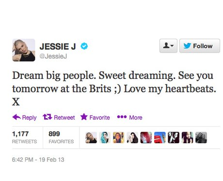 Jessie J urges fans to follow their dreams on Twitter