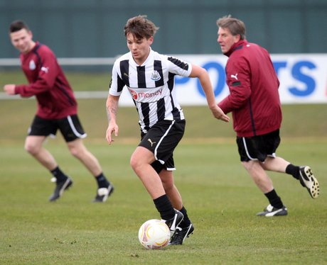 One Direction playing football at Newcastle tranin