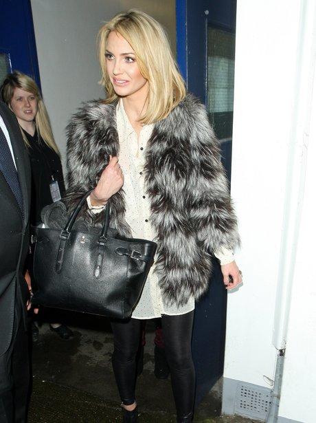 Sarah Harding wearing a grey fur coat