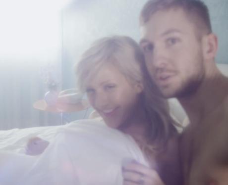 Calvin Harris and Ellie Goulding cuddling in bed