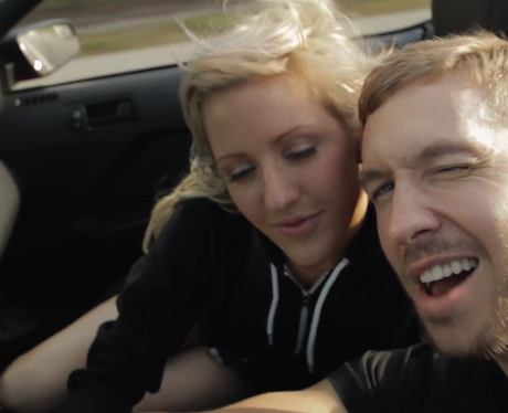 Calvin Harris and Ellie Goulding driving a car