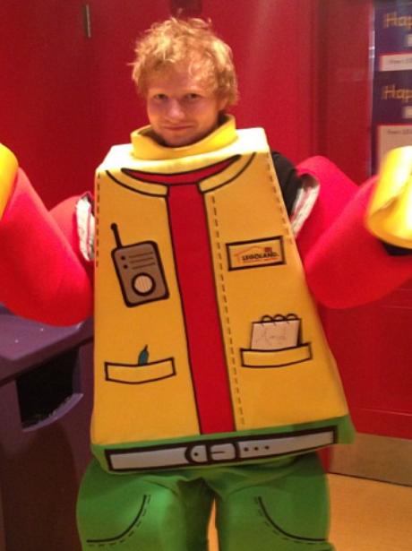 Ed Sheeran in lego fancy dress