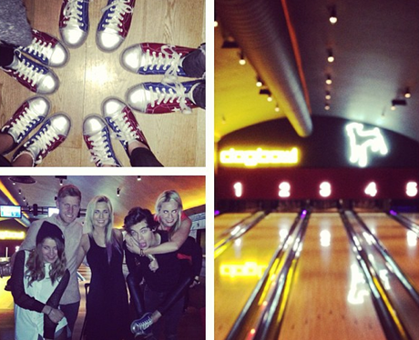 Harry Styles bowling with friends in the UK