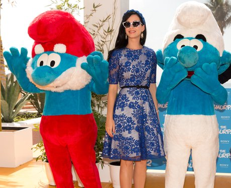 Katy Perry promoting The Smurfs 2