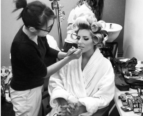 Mollie King getting her make-up done