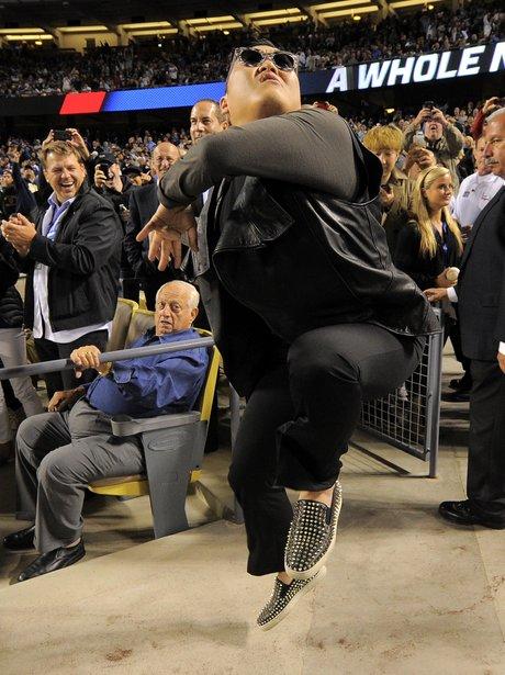 PSY doing Gangnam Style dance at baseball game