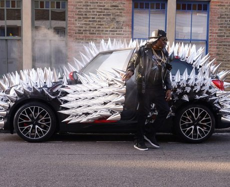Dizzee Rascal in a customised mini with metal prongs