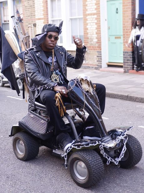 Dizzee Rascal on a mobility scooter