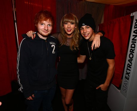 Ed Sheeran, Taylor Swift, and Austin Mahone