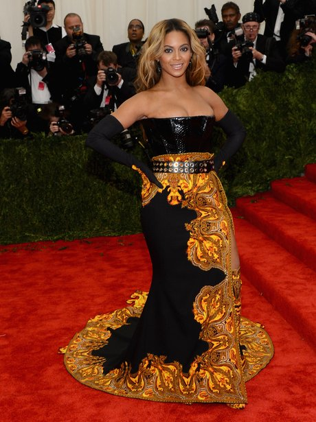Beyonce wearing a Givenchy gown at the Met Gala