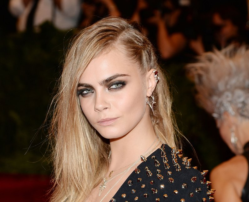 Cara Delevingne wearing studded burberry dress