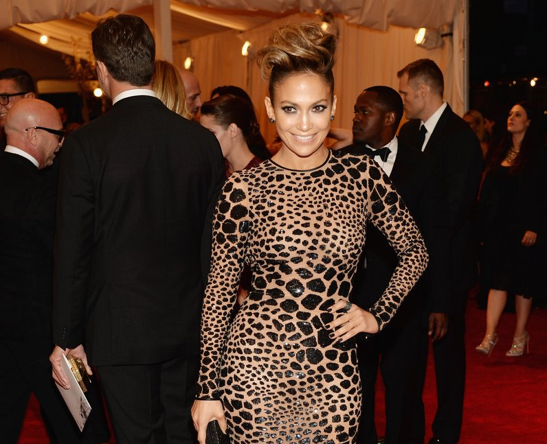 Jennifer Lopez with her hand on her hip posing