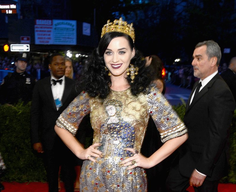 Katy Perry with a Dolce and Gabbana Virgin Mary dress