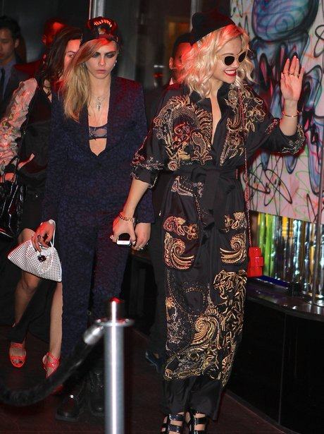 Rita Ora and Cara Delevingne leaving after party