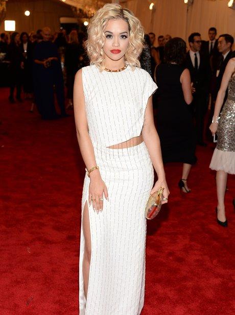 Rita Ora wearing a white Thakoon dress
