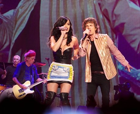 Katy Perry and Mick Jagger on stage
