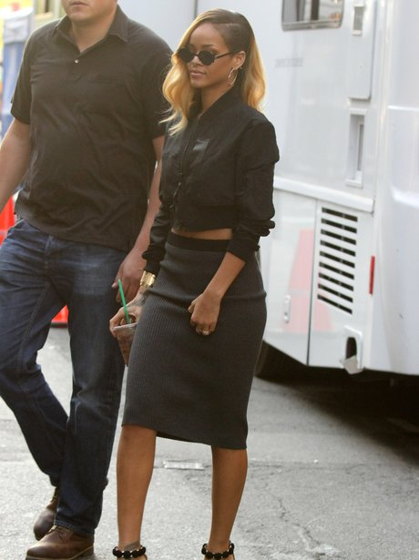 Rihanna spotted on the set of a Budweiser commerci