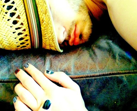 Zayn Malik asleep with painted nails