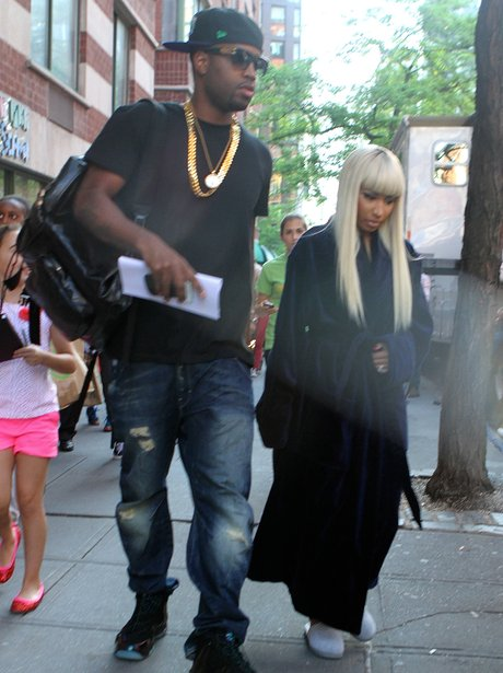 "Nicki Minaj on Set of ""The Other Woman"" wearing a dressing gown"