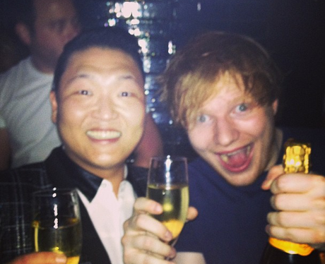 psy and ed sheeran with thumbs up
