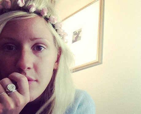 Ellie Gulding with flowers in her hair