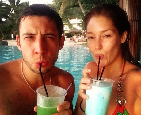 Example and wife Erin McNaught on Honeymoon