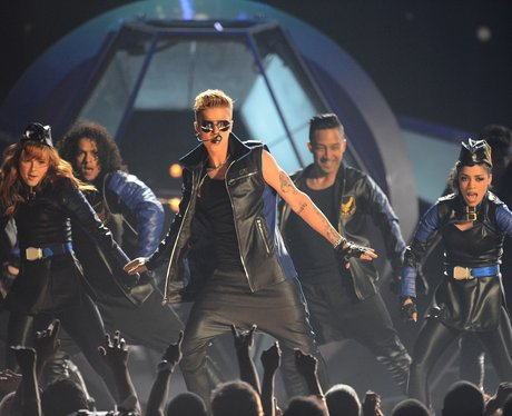 Justin Bieber wearing leather at the 2013 Billboard Music Awards