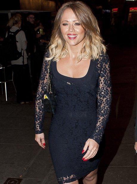 Kimberley Walsh wearing a tight black dress